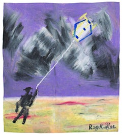 """""""Figure with Kite,"""" Oil Pastel on Grocery Bag signed by Reginald K. Gee"""