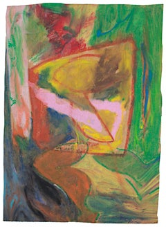 """""""Confused Abstract,"""" Oil Pastel on Grocery Bag signed on Back by Reginald K. Gee"""