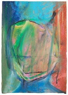 """City Dwellers Portrait,"" Oil Pastel on Grocery Bag signed by Reginald K. Gee"