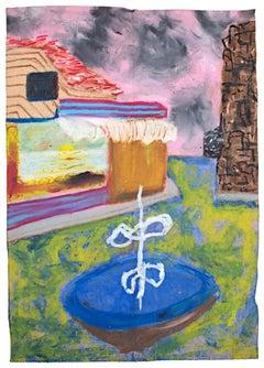 """""""326 Eskret Place,"""" Oil Pastel on Grocery Bag signed on Back by Reginald K. Gee"""