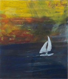 """Coasting Sailboat,"" Pastel on Paper Seascape signed by Reginald K. Gee"
