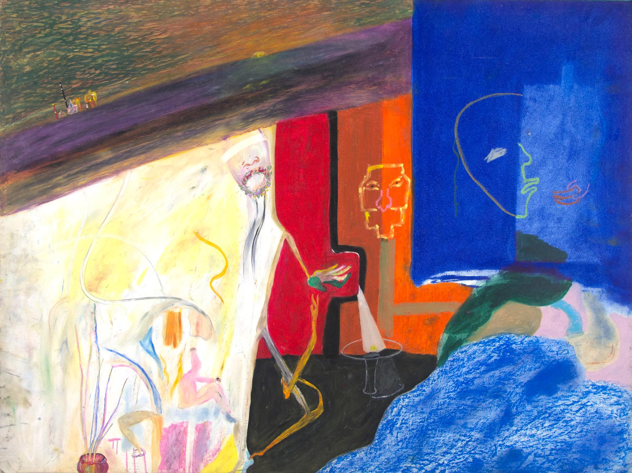 """""""Baghdad Rain,"""" Oil Pastel on Illustration Board signed by Reginald K. Gee"""