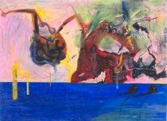 """Destruction of the Apple Juice Pool,"" Oil Pastel signed by Reginald K. Gee"