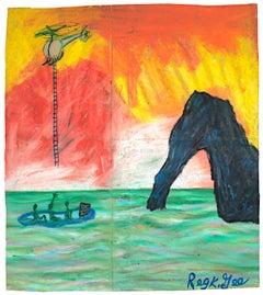 """""""Defectors,"""" Oil Pastel on Grocery Bag signed by Reginald K. Gee"""