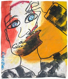 """""""Double Opinion,"""" Oil Pastel on Grocery Bag Portrait signed by Reginald K. Gee"""