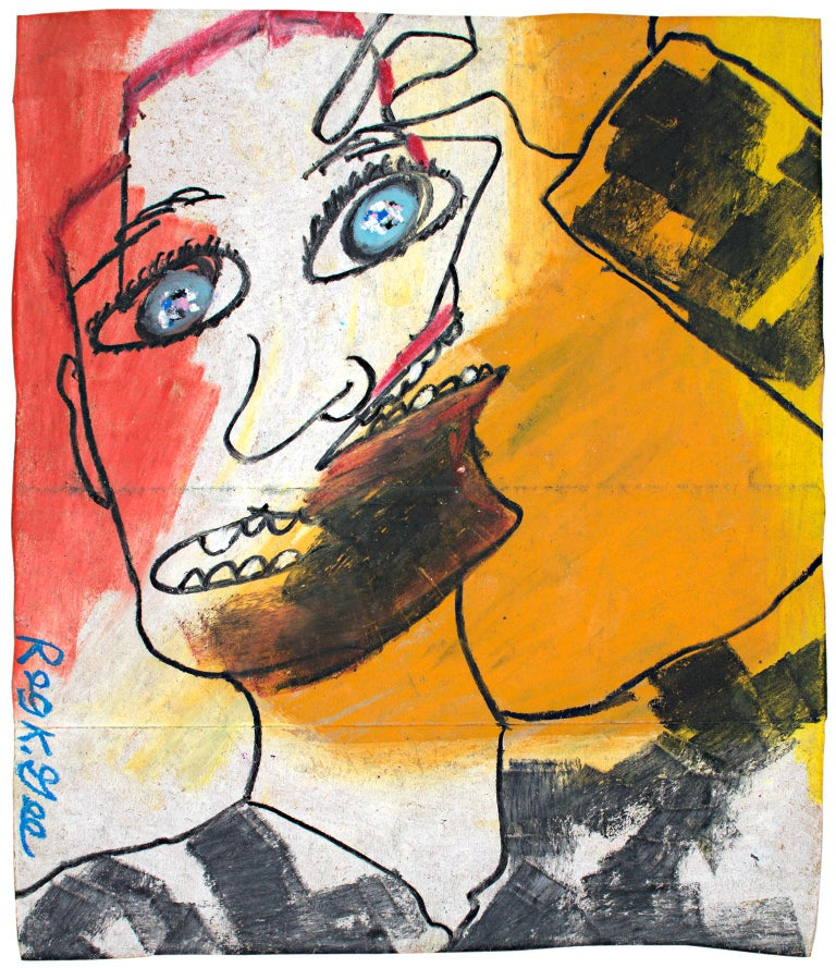 """Double Opinion"" is an original oil pastel drawing on a grocery bag by Reginald K. Gee. The artist signed the piece lower left. It depicts a confused and wide-eyed face with two mouths, much like a drawing by Picasso.   14"" x 12"" art  Contemporary"