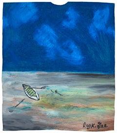 """Back to the Boat,"" Original Oil Pastel on Grocery Bag signed by Reginald K. Gee"