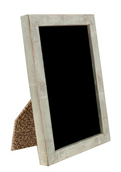 """Romanian Handmade Photo Frame,"" 12K White Gold Leaf & Wood 4 x 6 in Frame"
