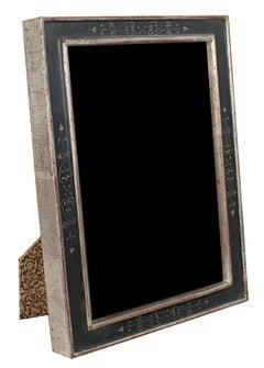 """Romanian Handmade Photo Frame,"" 12K White Gold Leaf & Wood 5 x 7 in Frame"