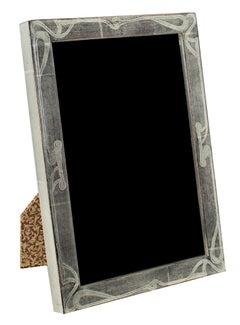 """Handmade 12K White Gold Leaf Photo Frame,"" Wood 5 x 7 in created in Romania"