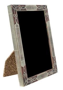 """Handmade 12K White Gold Leaf Photo Frame,"" Wood 4 x 6 in created in Romania"