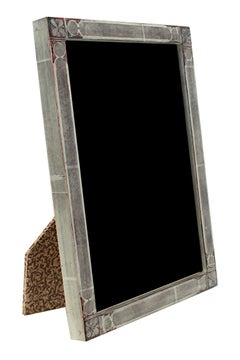 """Romanian Handmade Photo Frame,"" 12K White Gold Leaf & Wood 5 x 7 Frame"