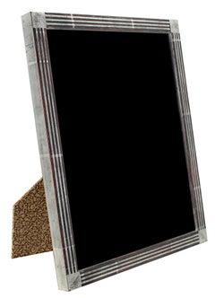 """Handmade 12K White Gold Leaf Photo Frame,"" Wood 8 x 10 frame made in Romania"