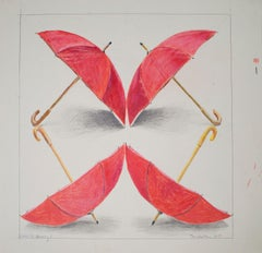 """""""Umbrella Drawing I,"""" color pencil on paper by Tom Shelton"""