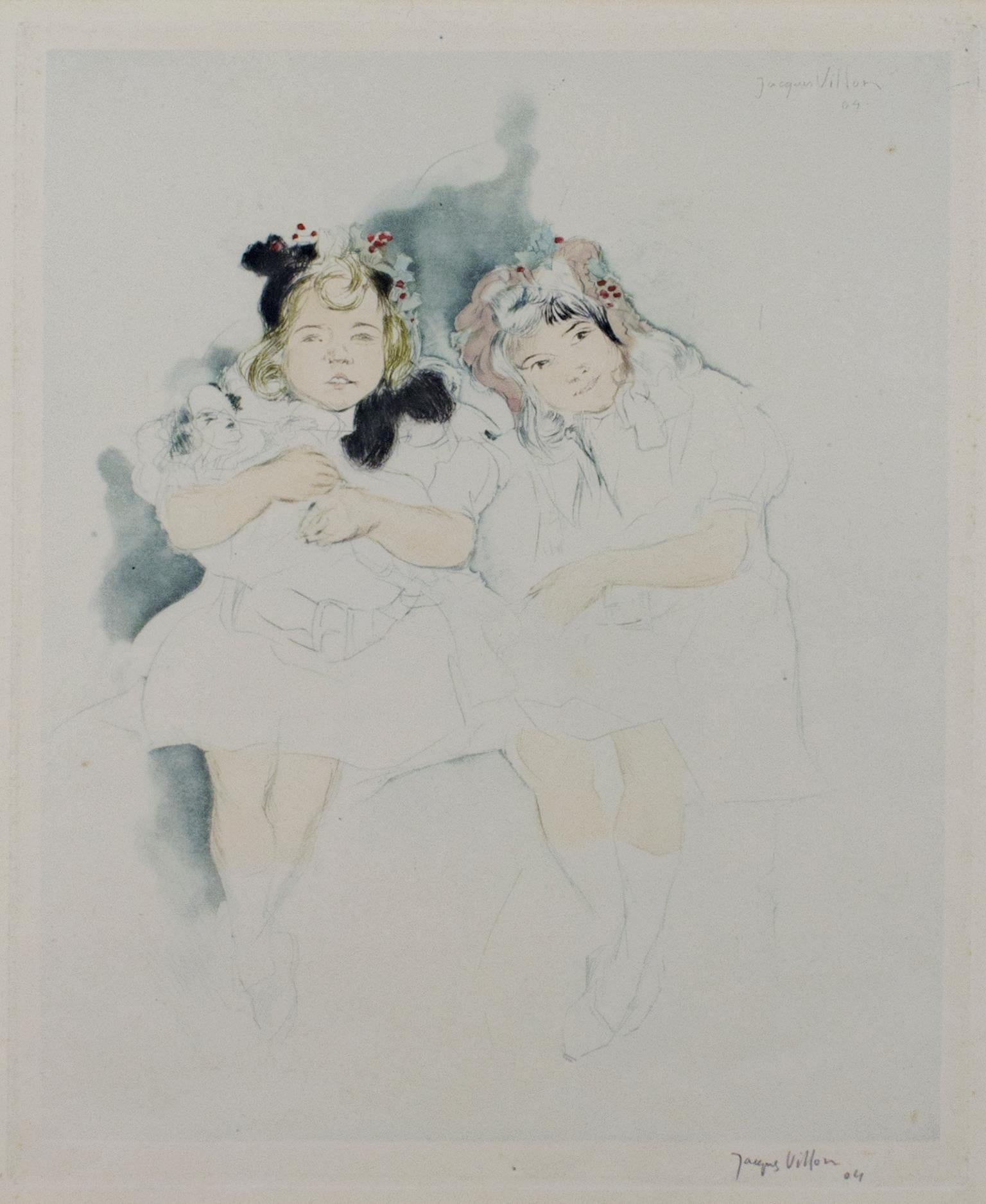 """""""Mes Petites Amies,"""" Drypoint, Aquatint, & Watercolor signed by Jacques Villon"""
