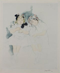 """Mes Petites Amies,"" Drypoint, Aquatint, & Watercolor signed by Jacques Villon"