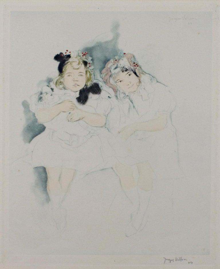 """""""Mes Petites Amies"""" is an original drypoint, aquatint, and watercolor artwork by Jacques Villon. The artist signed the piece lower right. Catalogue Raisonne E101, pg. 66-67 (Ginestet & Pouillon). It depicts two young girls.   15"""" x 11 1/2"""" art 25"""