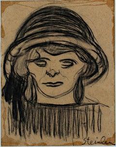 """Tete de Fillette,"" charcoal drawing by Theophile Alexandre Steinlen"