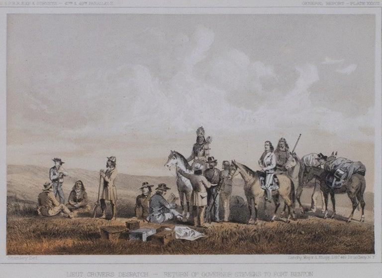 "John Mix Stanley Landscape Print - ""Lieutenant Crovers Despatch - Return of Governor Stevens to Fort Benton"""