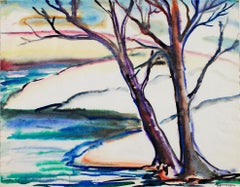"""Early Spring Landscape #303,"" Watercolor signed by Sylvia Spicuzza"