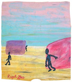 """""""Territory,"""" Oil Pastel on Grocery Bag signed by Reginald K. Gee"""