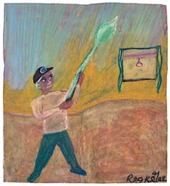 """""""Unusual Man,"""" Oil Pastel Drawing on Grocery Bag signed by Reginald K. Gee"""
