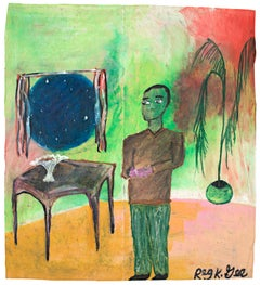 """""""Listening to the News,"""" Oil Pastel on Grocery Bag signed by Reginald K. Gee"""