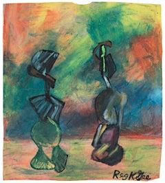 """""""Living Figures,"""" Oil Pastel on Grocery Bag signed by Reginald K. Gee"""