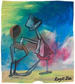 """The Plan Begins,"" Oil Pastel on Grocery Bag signed by Reginald K. Gee"