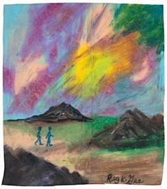 """""""Region Nine Walkers,"""" Oil Pastel on Grocery Bag by Reginald K. Gee"""