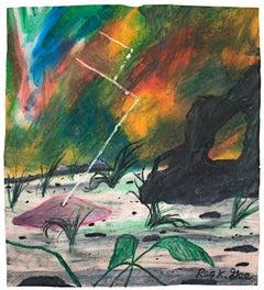 """Snapshot Taken of Saucer Touchdown"" Oil Pastel on Grocery Bag by Reginald K Gee"