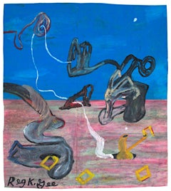 """Poetry Creature,"" Oil Pastel on Grocery Bag signed by Reginald K. Gee"