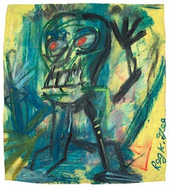 """""""Irate Individual"""" Oil Pastel Figirtive on Grocery Bag signed by Reginald K. Gee"""