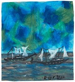 """On Lake Huron, 1956 B.C.,"" Oil Pastel on Grocery Bag signed by Reginald K. Gee"