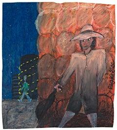 """Man Followed,"" Oil Pastel on Grocery Bag signed by Reginald K. Gee"