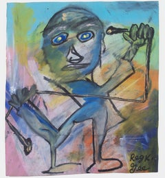 """""""Working Out,"""" Oil Pastel on a Grocery Bag signed by Reginald K. Gee"""