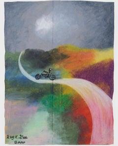 """""""Oblivion Road,"""" Oil Pastel on Grocery Bag by Reginald K. Gee"""