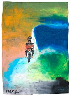"""Life Long Breezer,"" Oil Pastel on Grocery Bag signed by Reginald K. Gee"