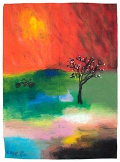 """""""The New Bike,"""" Oil Pastel on Grocery Bag Landscape signed by Reginald K. Gee"""