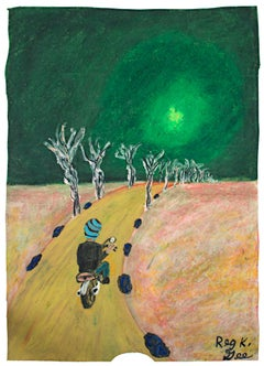 """""""Off to the Suburbs,"""" Oil Pastel on Grocery Bag signed by Reginald K. Gee"""