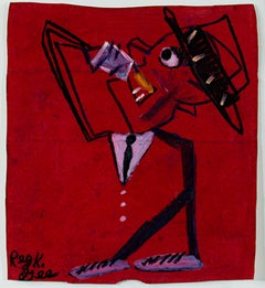 """""""Red Room Sipper,"""" Oil Pastel on Grocery Bag signed by Reginald K. Gee"""
