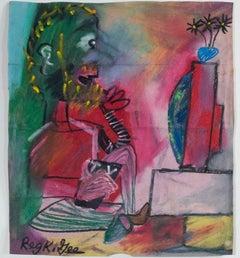 """""""T.V. Viewer,"""" Oil Pastel on Grocery Bag signed by Reginald K. Gee"""