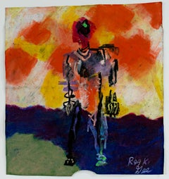 """""""Remembering,"""" Abstract Oil Pastel on Grocery Bag signed by Reginald K. Gee"""
