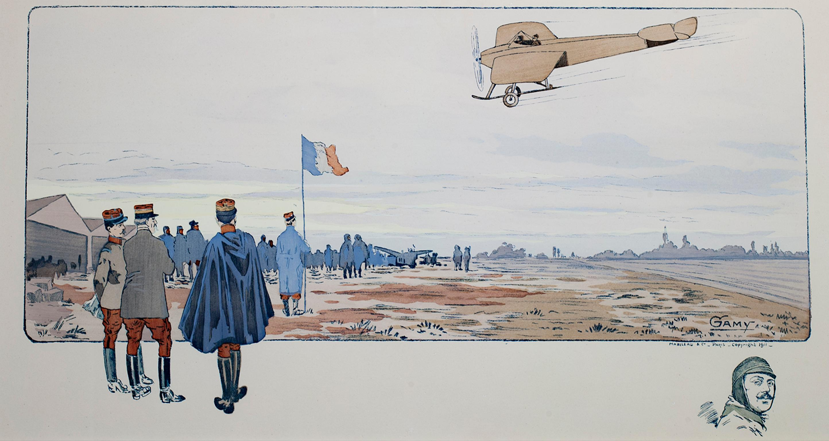 """""""French Air Show with Remarque of Head of Pilot,"""" Lithograph & Stencil by GAMY"""
