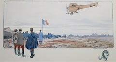 """French Air Show with Remarque of Head of Pilot,"" lithograph and stencil by GAMY"