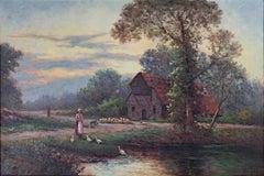 """French Farm Scene,"" Idyllic Pastoral Landscape Painting signed by Nic Lenz"