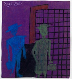 """""""Two Citizens,"""" oil pastel on grocery bag by Reginald K. Gee"""