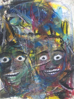"""""""Stay Go Stay Go,"""" Expressionist Oil Pastel on Cardboard by Reginald K. Gee"""