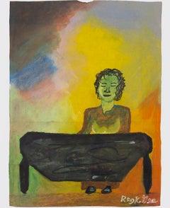 """Sister Vali,"" pastel on grocery bag by Reginald K. Gee"