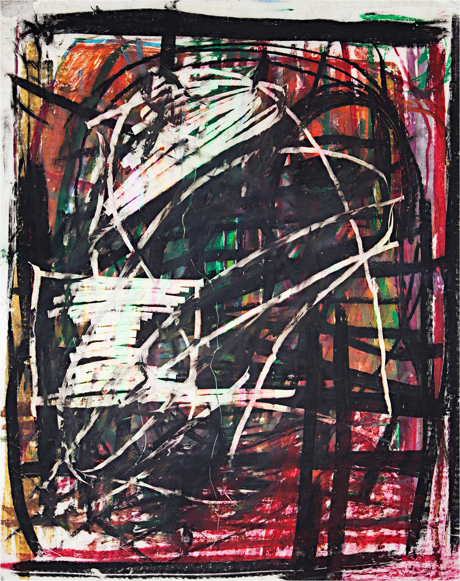 """""""I Need Her Badly Now,"""" Abstract Gestural Pastel on Paper by Reginald K. Gee"""